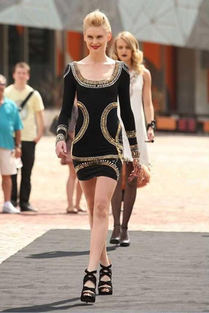 657c397533c6 Herve Leger Kim Kardashian Same Style Black Long Sleeves Dresses ...