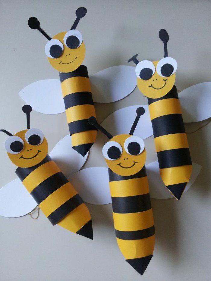recycler le rouleau de papier toilette, abeilles sympathiques en rouleaux recyclés