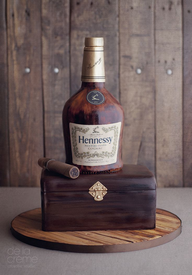 Hennesy And Cigar Box Birthday Cake