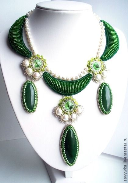"Hand-beaded ""Lime"" necklace, by artisan Ekaterina Nemec - at livemaster"