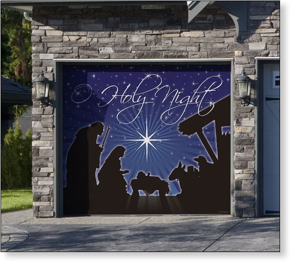 7 best images about garage door christmas decor on for Christmas garage door mural