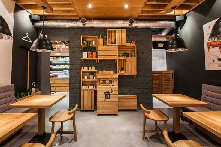 Cafe Design- Healthy cafe with gorgeous wood and charcoal walls!! LOVE