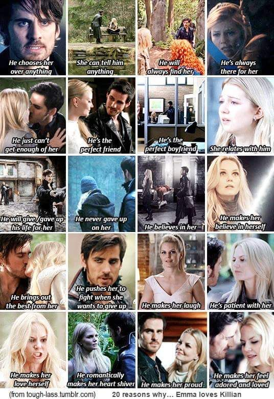 20 reasons why Emma Loves Killian & how it's completely obvious that he is her True Love! Captain Swan♡