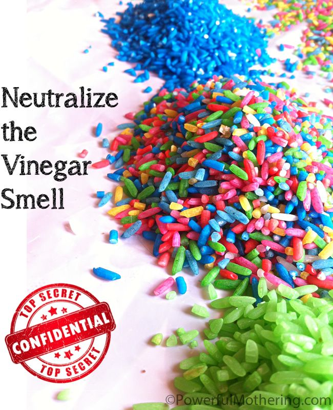 How to Neutralize the Vinegar Smell when Coloring Rice or Pasta + the recipes to make color rice & pasta!