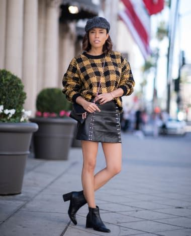 Edgy Outfit from jennyplogstyle with Nordstrom x Brixton Hats, TopShop Sweaters, Missguided Skirts, Free People Boots