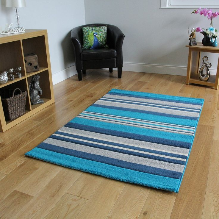 Navy, Cream, Grey And Teal Blue Area Rug With Stripes