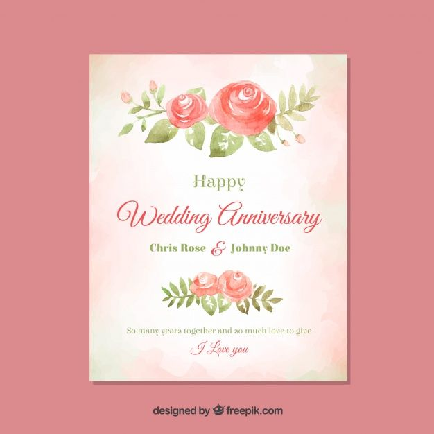 Download Wedding Anniversary Card With Watercolor Flowers For Free Wedding Anniversary Cards Wedding Anniversary Anniversary Cards