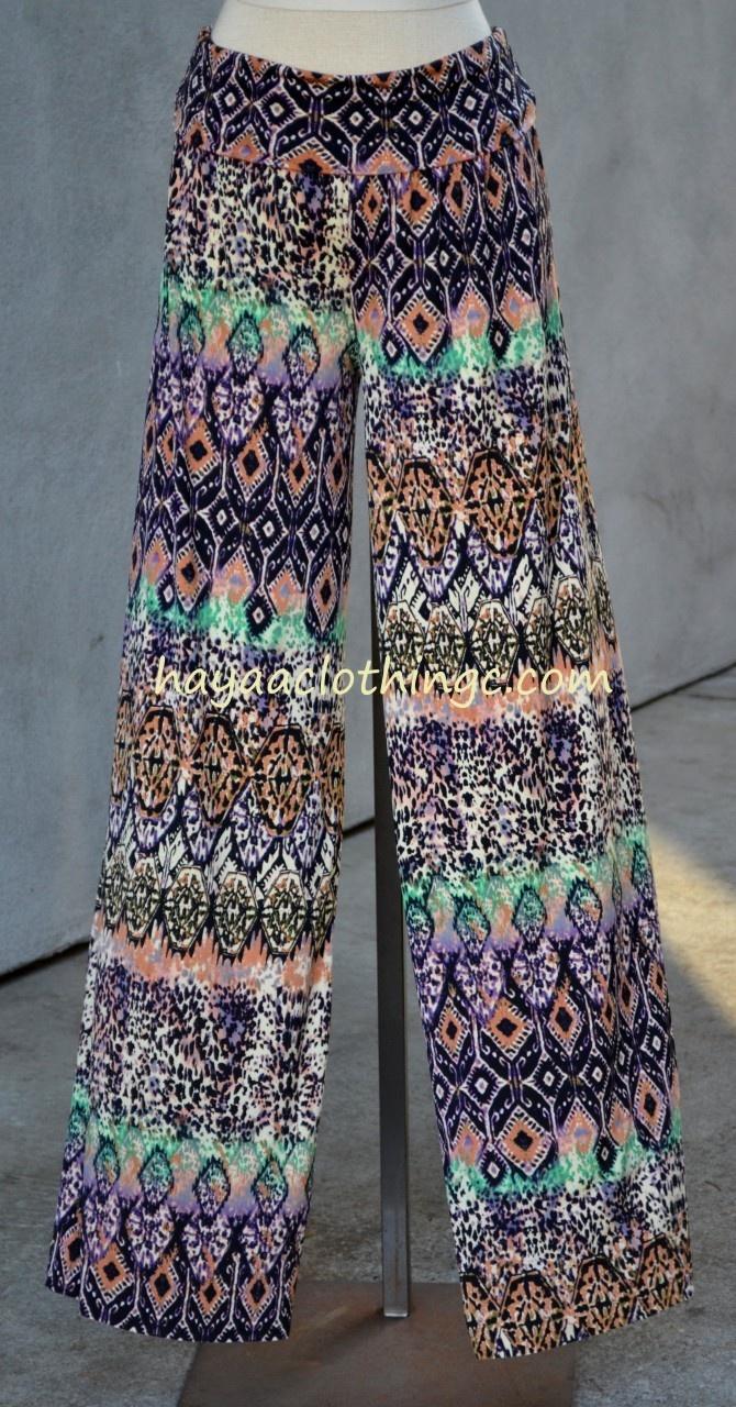 Hayaa Clothing - Palazzo Wide Leg Pants - Purple Ikat Print, (http://www.hayaaclothing.com/palazzo-wide-leg-pants-purple-ikat-print/)