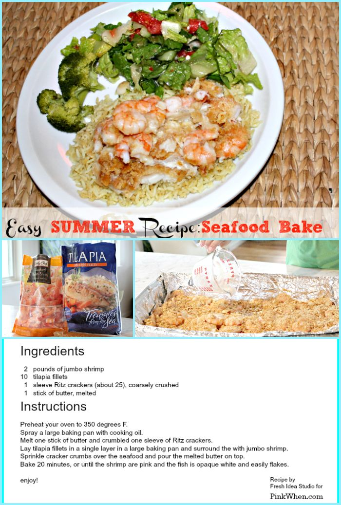 Easy Summer Dinner Recipe Seafood Bake by Fresh Idea Studio for PinkWhen.com