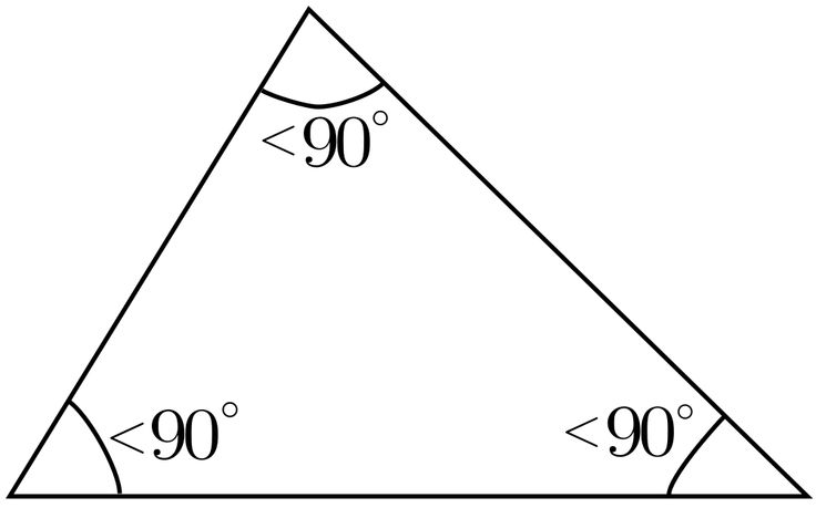 Triangle with all angles less than 90