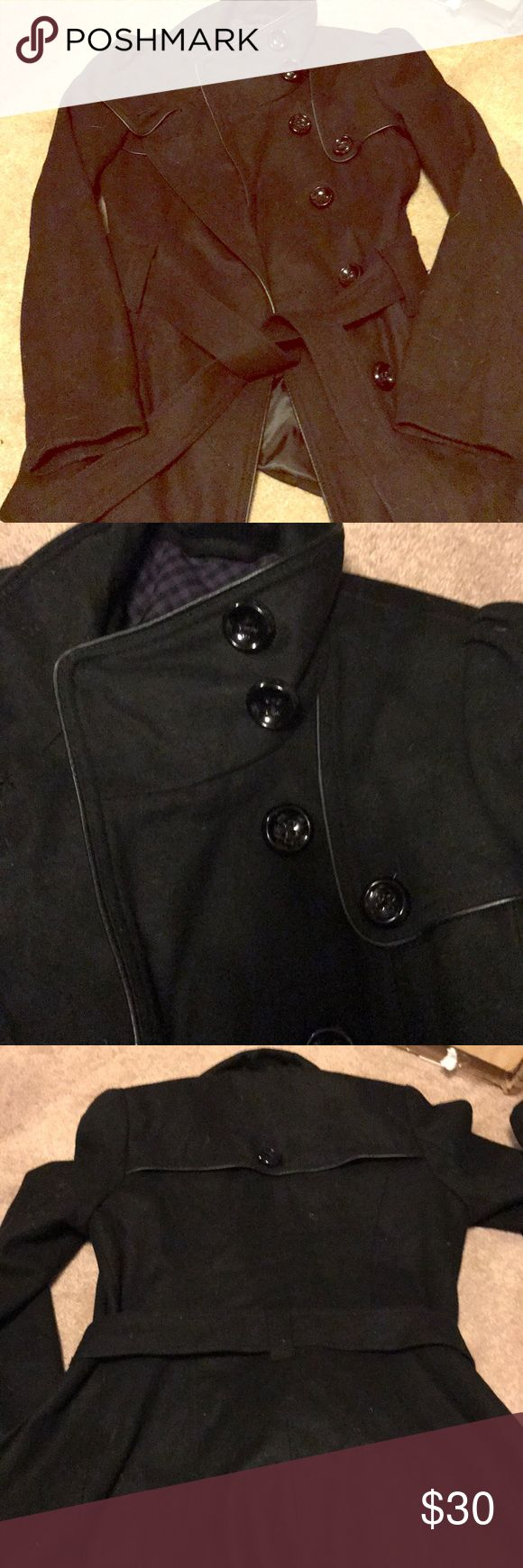 Black pea coat by Steve Madden. Black pea coat in perfect condition size small. Button accents on collar and back wrap around tie. Steve Madden Jackets & Coats Pea Coats
