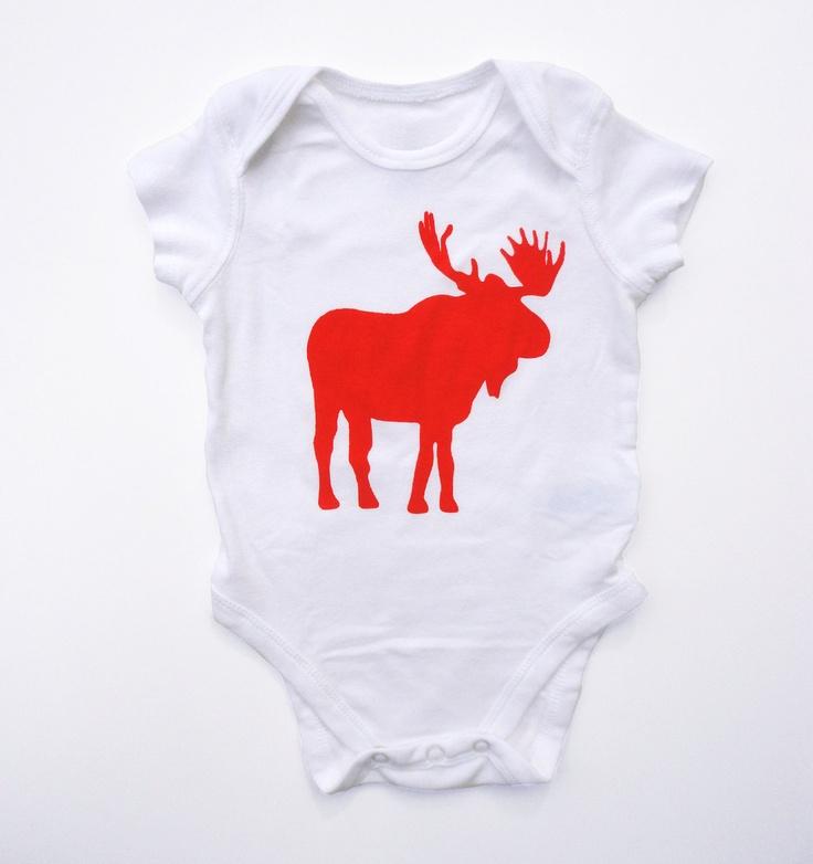 Baby Onesie: Moose print- Size 3-6 months. $18.00, via Etsy.