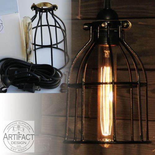 Alambre-de-Metal-Estilo-Vintage-Industrial-jaula-Curvado-Colgante-De-Techo-Lampara-Luminaria