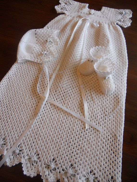 Baptism Dress Hat And Booties Free Crochet Graph Pattern Baby Time ...