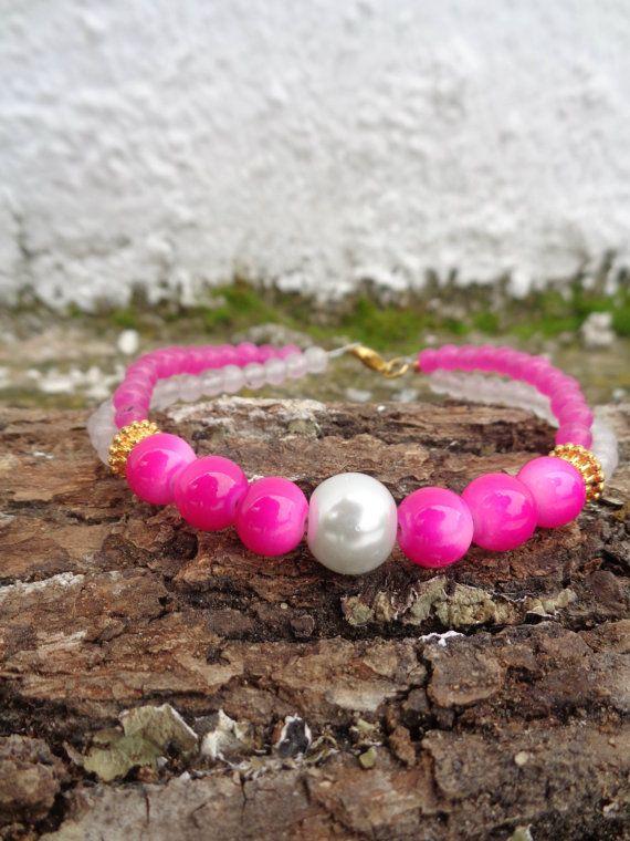 Double pink OOAK friendship bracelet / Bohemian bracelet / Summer bracelet/ jade beaded bracelet / semiprecious jewelry / Ethnic bracelet
