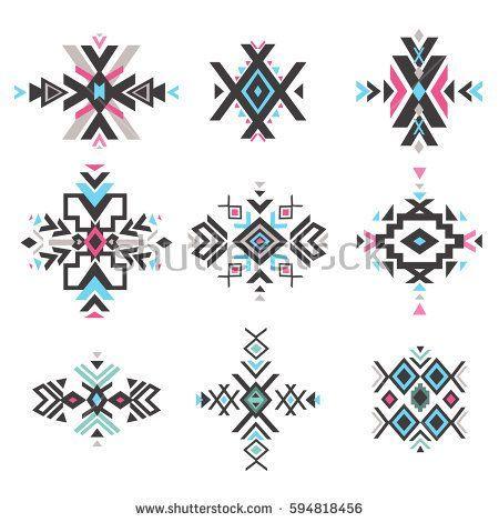Set of geometrical tribal elements