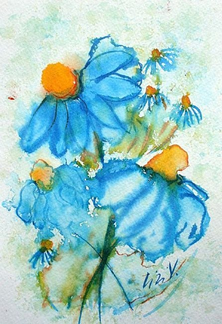 Art: BLUE FLOWERS WATERCOLOR PAINTING by Artist LUIZA VIZOLI