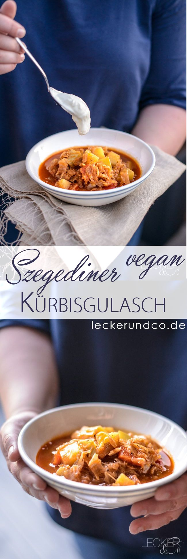 Szegediner Kürbisgulasch | veganes Gulasch mit Butternut Kürbis und Sauerkraut