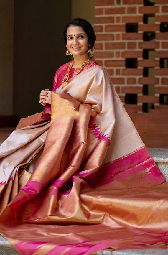 Rich cotton Soft Silk with weaving Saree and blouse for women,saree dress,indian saree,wedding saree,tradidtional saree,saris pink saree