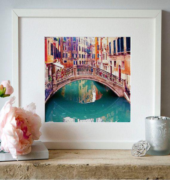 Venice Small bridge Watercolor Digital art Digital by Artsyndrome