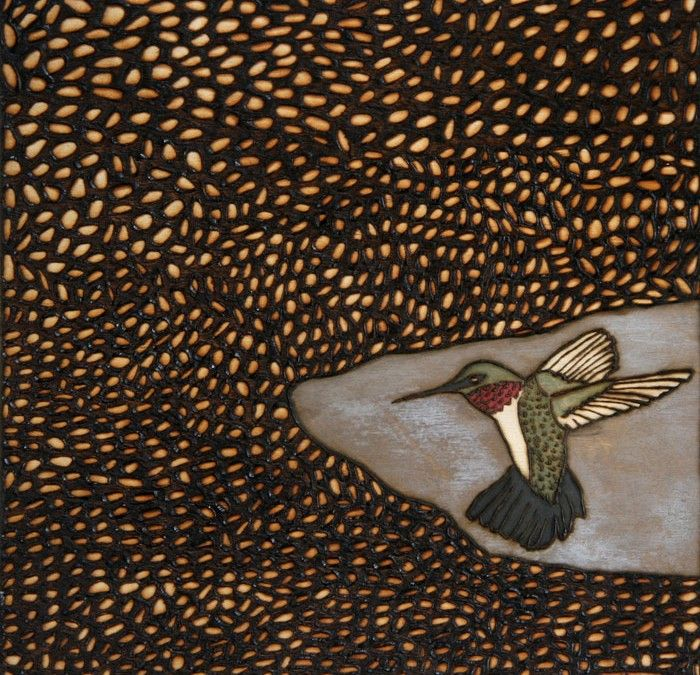 """Amy Ventura """"I Am Beating All My Wings"""" (hummingbird) burned wood pyrography finished with milk paint   bird, nest, woodburning, engraving, art, artwork, brown, black, white, wood, hummingbird, texture, nature, patterns, brown, green, red, wings, flying"""
