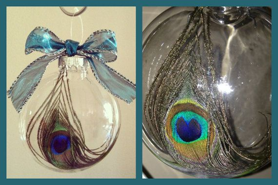 Peacock or snowball ornament plain or can also be personalized to make a great gift for someone or to add to your Christmas decor! Babies first