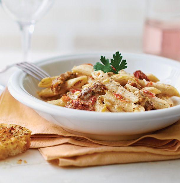 Creamy Sun-Dried Tomato & Sausage Penne. In this weeknight family favorite, milk, cream and cheese are simmered together to create a sauce that beautifully complements the subtle heat of Italian sausage. Use the flavorful oil directly from your jar of sun-dried tomatoes for a side of crispy, crave-able crostini.