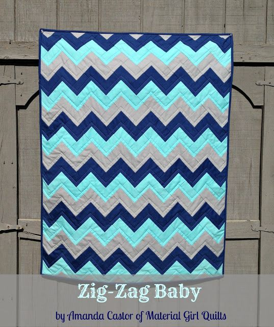 Moda Bake Shop: Zig-Zag Baby Quilt made using charm squares. Zig zag results from rectangles ...