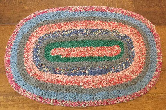 Oval Braided Rag Rug Vintage Handmade Cotton by AStringorTwo