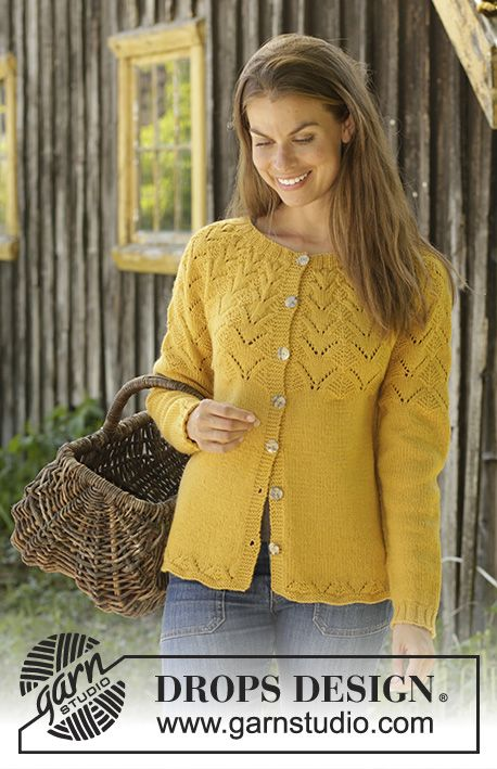 806b8e13cdeb Knitted jacket in DROPS Cotton Merino or DROPS Lima. The piece is ...