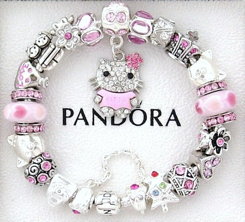 Pandora Christmas Charm Bracelet New Pink Silver Hello Kitty Love Cz Crystals $185