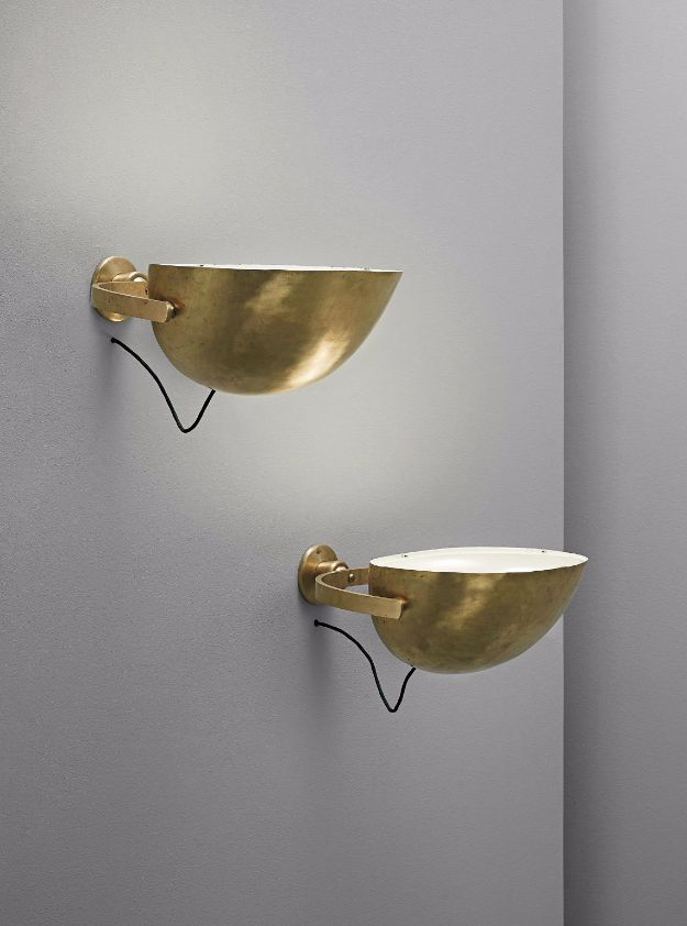 ($23,000 - $32,000 per pair) Palle Suenson; Brass and Glass Wall Lights for the Arhaus Oil Factory, 1940s.