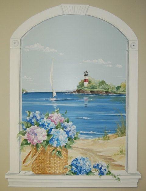 Hand Painted Window Mural by MacMurrayDesigns on Etsy, $425.00