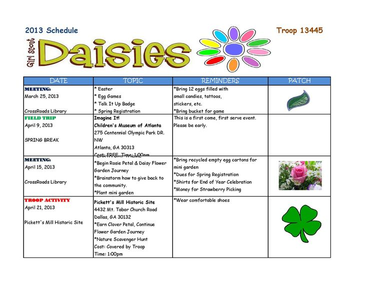 166 best daisy girl scouts images on pinterest for Girl scout calendar template