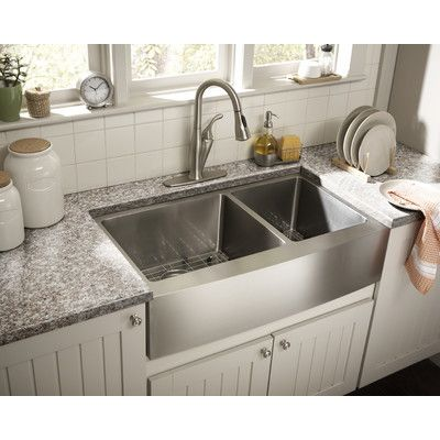 FREE SHIPPING! Shop Wayfair for Schon Farmhouse 36 x 21.25 Double Bowl Kitchen Sink - Great Deals on all Kitchen & Dining products with the best selection to choose from!