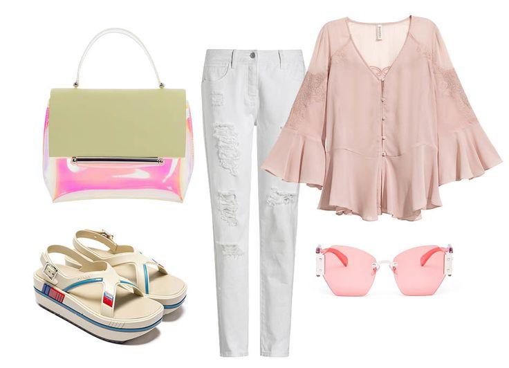 1. Сумка, Delpozo 2. Обувь, Prada 3. Блуза, H&M 4. Очки, Miu Miu Lunch