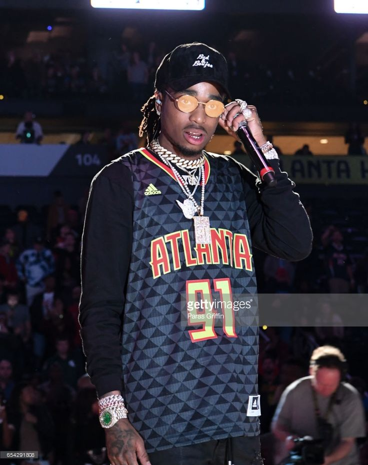 Rapper Quavo of Migos performs in a post game concert after Memphis Grizzles Vs Atlanta Hawks Game at Phillips Arena on March 16, 2017 in Atlanta, Georgia.