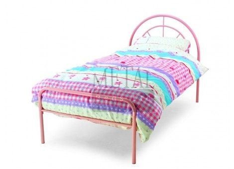 Miami Pink Finish Single Metal Bed Frame - A traditional metal design, painted in warm Pink color to give this bed a chic finish. The Metal Beds Miami Pink Single Bed Frame comes with a sprung slatted beech base and is elegantly designed with a Pink finish.