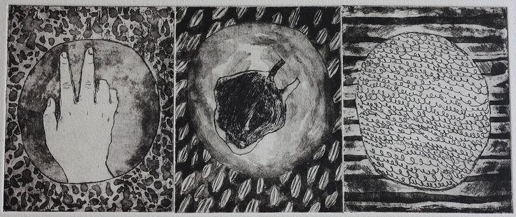 Small wonders heart triptych by Rushka Gray