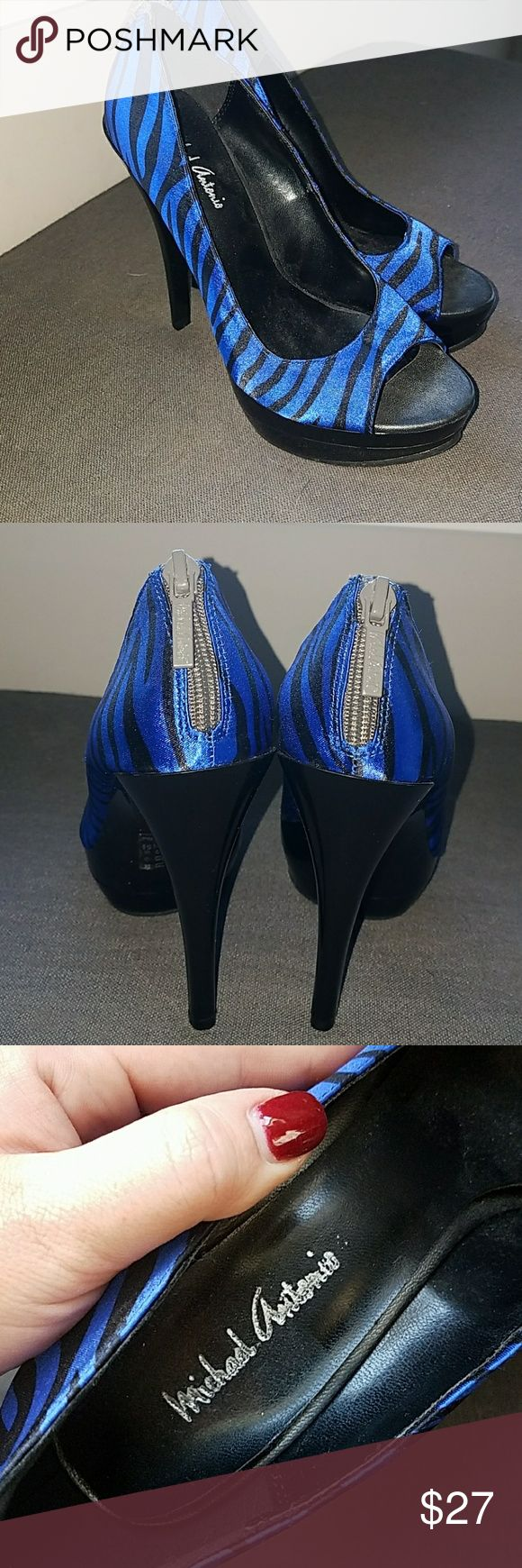 NEW Michael Antonio Heels Brand new never worn. Blue and Black zebra heels w zipper detail on back Michael Antonio Shoes Heels