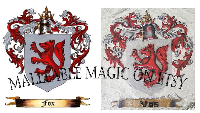Family Crest template and end result in polymer clay.