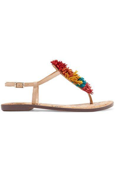 Sam Edelman   Gates pompom-embellished leather sandals   NET-A-PORTER.COM