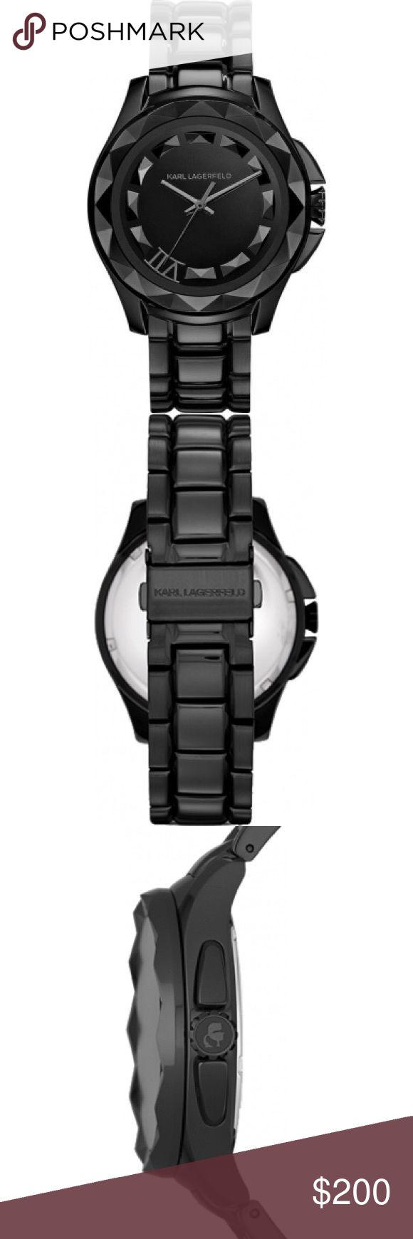 Karl Lagerfeld Karl 7 Black Steel Bracelet Watch Karl Lagerfeld Women's Watch KL1001.  Introducing yet another splendid analog women's  wristwatch that is manufactured and designed by Karl Lagerfeld. This watch features a black metal bracelet and a stainless steel case combined with a black face. Used once and comes with original box. Originally $350. Purchased from Nordstrom. No trades. Karl Lagerfeld Accessories Watches