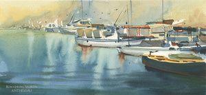 Crimea, port, watercolor, paper