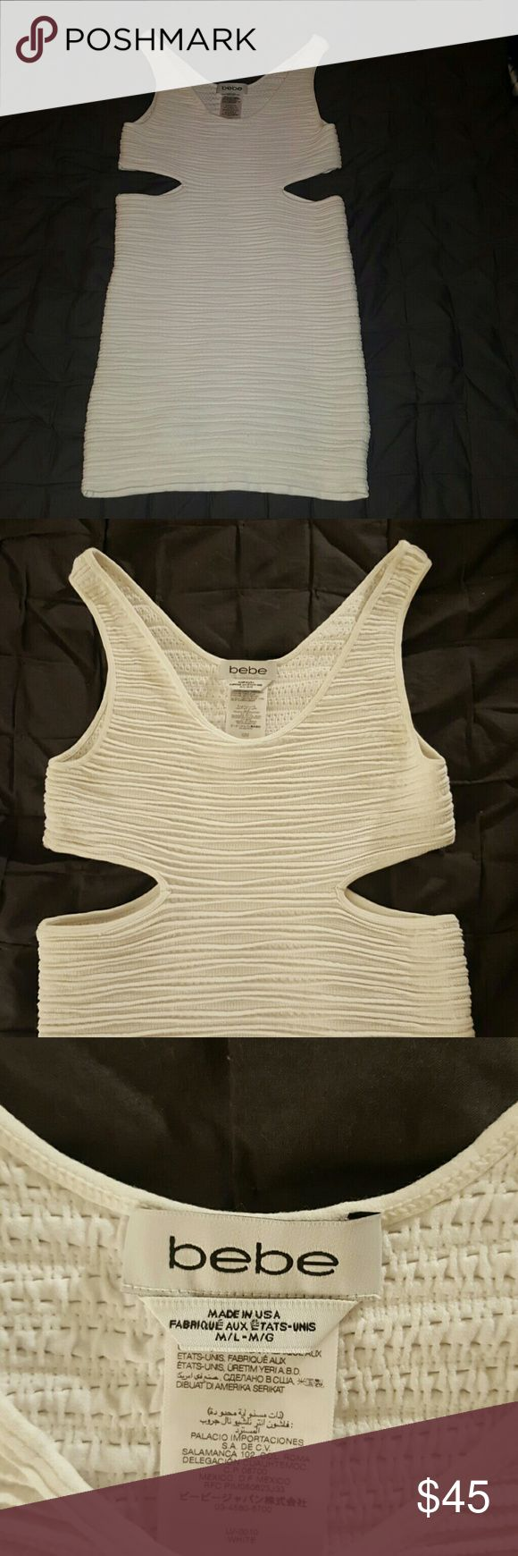 Worn once!! White Club dress Bodycon going out dress with cut outs bebe Dresses Mini