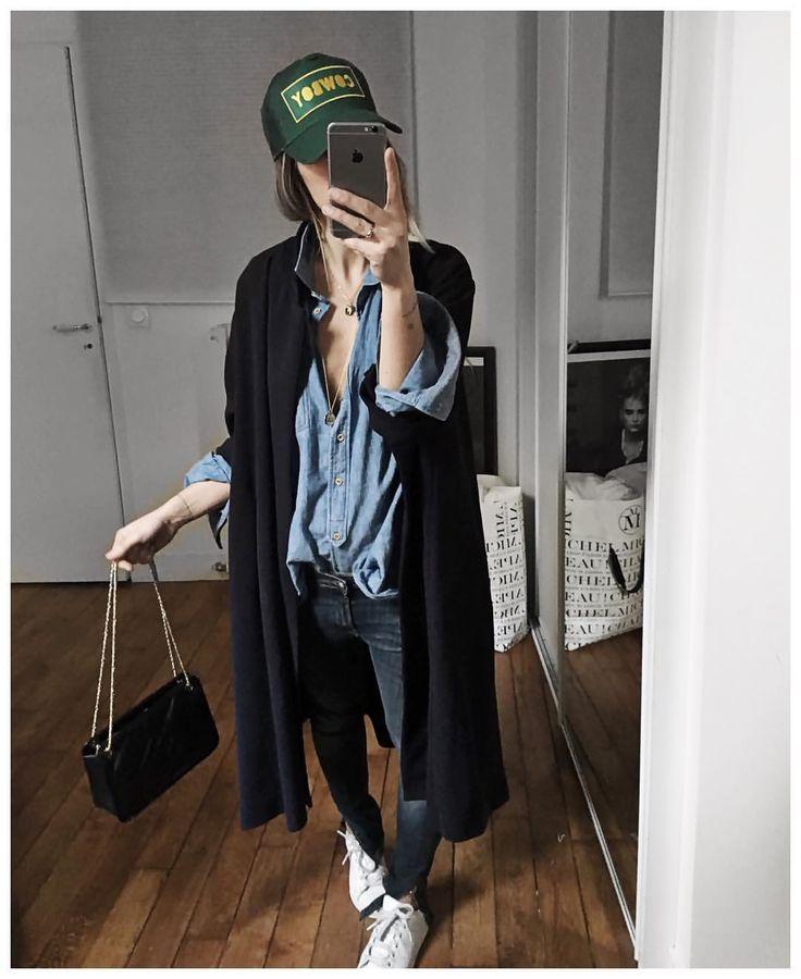 """Audrey on Instagram: """"Soirée filles et tenue 100% française • Coat & cap…"""