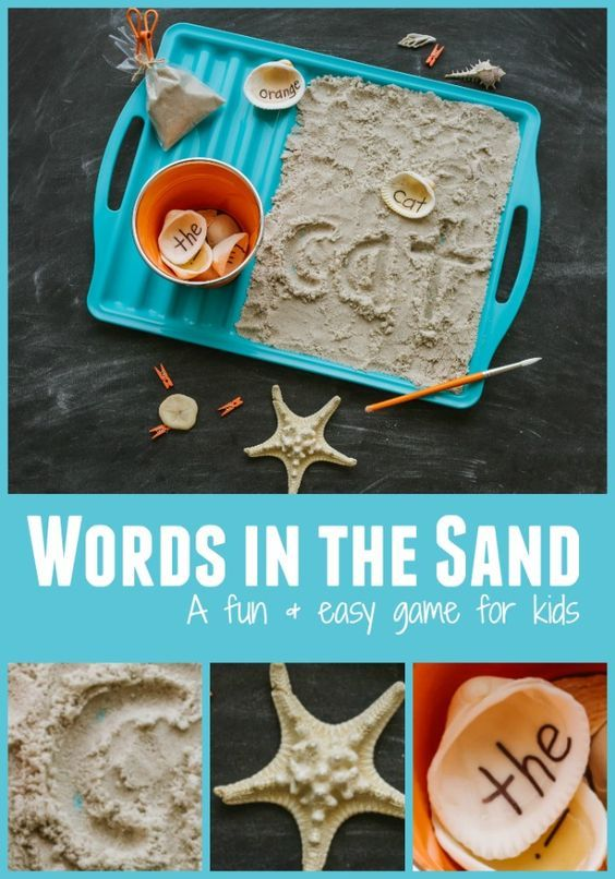 Keep kids learning all summer long with this writing sensory activity by collecting sand and seashells for sight words and alphabet fun.  A featured activity from 100 Fun & Easy Learning Games for Kids