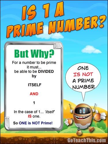 Is one prime? A Free Printable Poster for your Math Wall or behind the Bathroom Door :-)