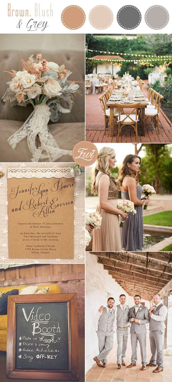 brown, taupe and grey rustic fall wedding colors