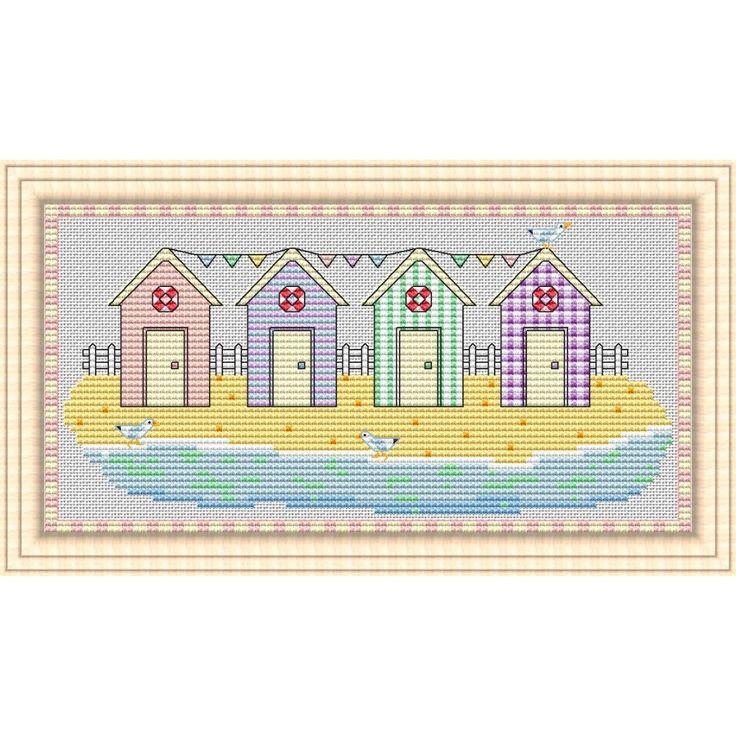 Beach Huts - Cross Stitch PDF Chart for DOWNLOAD